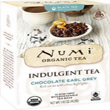 Numi Tea, Organic, Indulgent Tea, Chocolate Earl Grey, 12 Tea Bags 40.2g