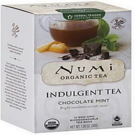 Numi Tea, Organic, Indulgent Tea, Chocolate Mint, 12 Tea Bags 39g