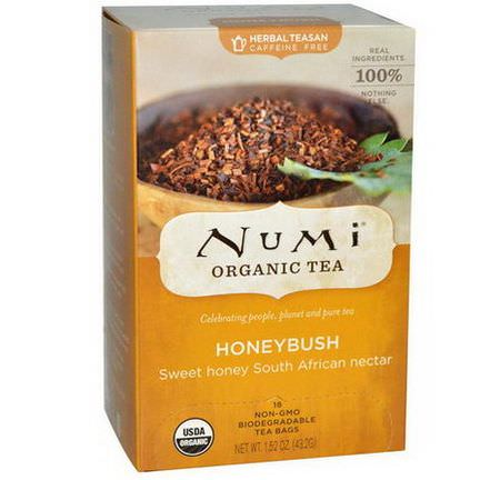 Numi Tea, Organic Tea, Honeybush, Caffeine Free, 18 Tea Bags