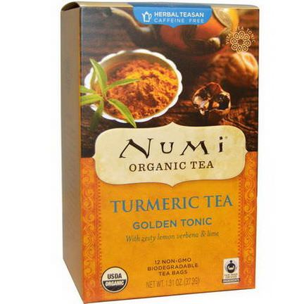 Numi Tea, Organic Turmeric Tea, Golden Tonic, Caffeine Free, 12 Tea Bags 37.2g Each
