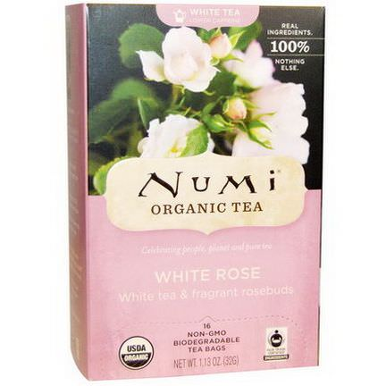 Numi Tea, Organic White Rose Tea, 16 Tea Bags 32g