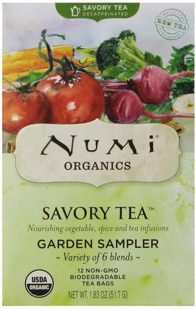 Numi Tea, Savory Tea, Garden Sampler, Variety of 6 Blends, 12 Tea Bags 51.7g