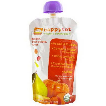 Nurture Inc. Happy Baby, Happytot, Organic Superfoods, Pumpkin, Sweet Potato,&Pear 120g
