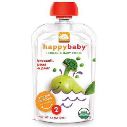 Nurture Inc. Happy Baby, Organic Baby Food, Broccoli, Peas&Pear, Stage 2, 6+ Months 99g