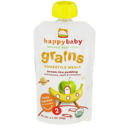 Nurture Inc. Happy Baby, Organic Baby Food, Grains, Homestyle Meals, Brown Rice Pudding with Banana, Apple&Cinnamon 99g