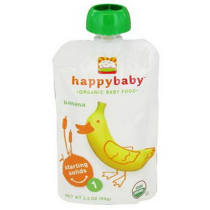 Nurture Inc. Happy Baby, Organic Baby Food, Starting Solids, Stage 1, Banana 99g