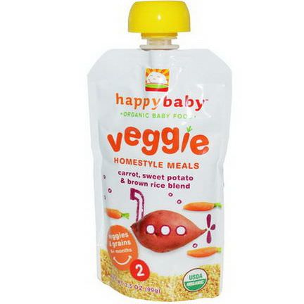 Nurture Inc. Happy Baby, Organic Baby Food, Veggie Homestyle Meals, Carrot, Sweet Potato&Brown Rice Blend 99g