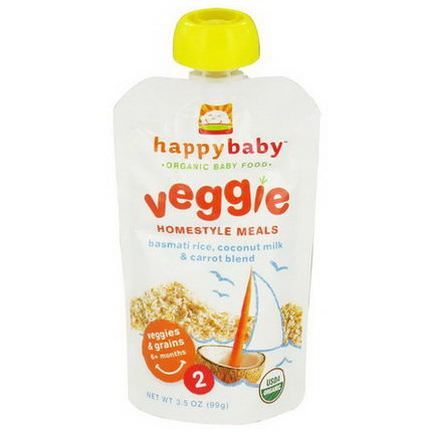 Nurture Inc. Happy Baby, Organic Baby Food, Veggie Homestyle Meals, Stage 2, Basmati Rice, Coconut Milk&Carrot Blend 99g