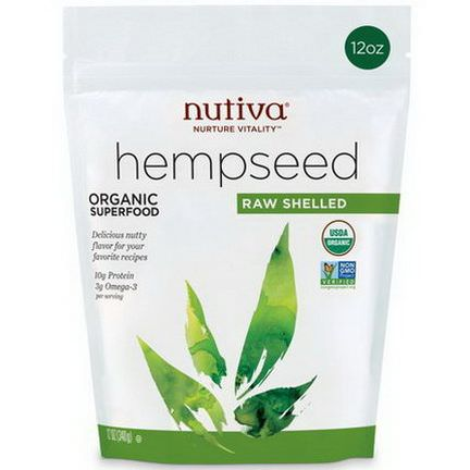 Nutiva, Hempseed, Organic Superfood, Raw Shelled 340g