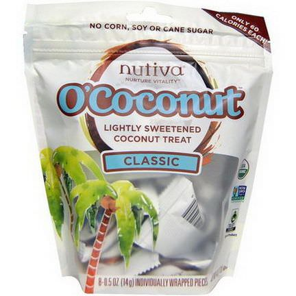Nutiva, O'Coconut, Classic, 8 Individually Wrapped Pieces 14g Each