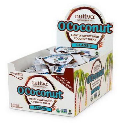 Nutiva, O'Coconut, Lightly Sweetened Coconut Treat, Classic, 24 Pieces 14g Each