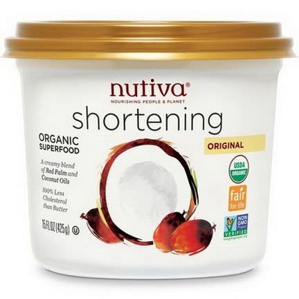 Nutiva, Organic Shortening, Original, Red Palm and Coconut Oils 425g