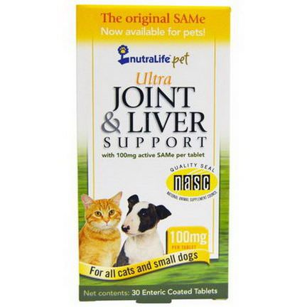 NutraLife, Pet, Ultra Joint&Liver Support, 100mg, 30 Enteric Coated Tablets