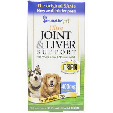 NutraLife, Pet, Ultra Joint&Liver Support, 400mg, 30 Enteric Coated Tablets