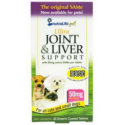 NutraLife, Pet, Ultra Joint and Liver Support, 50mg, 30 Enteric Coated Tablets
