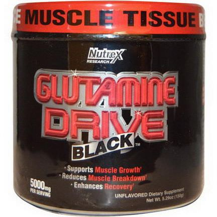 Nutrex Research Labs, Glutamine Drive, Black, Unflavored, 5000mg 150g