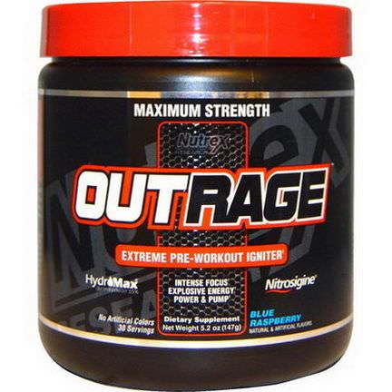 Nutrex Research Labs, Outrage, Extreme Pre-Workout Igniter, Blue Raspberry 147g