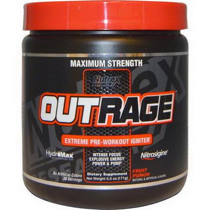 Nutrex Research Labs, Outrage, Extreme Pre-Workout Igniter, Fruit Punch 171g