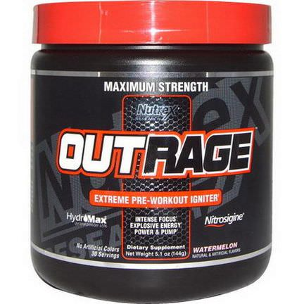 Nutrex Research Labs, Outrage, Extreme Pre-Workout Igniter, Watermelon 144g