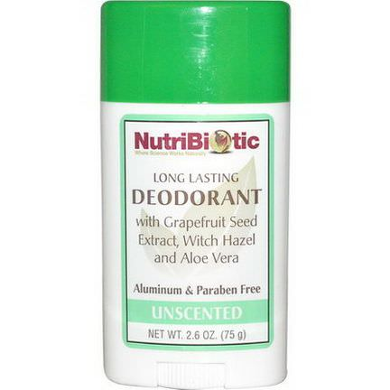 NutriBiotic, Long Lasting Deodorant Stick, Unscented 75g