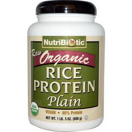 NutriBiotic, Raw Organic Rice Protein, Plain 600g