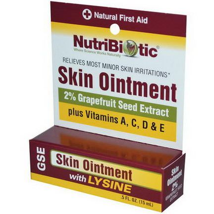 NutriBiotic, Skin Ointment, 2% Grapefruit Seed Extract with Lysine 15ml