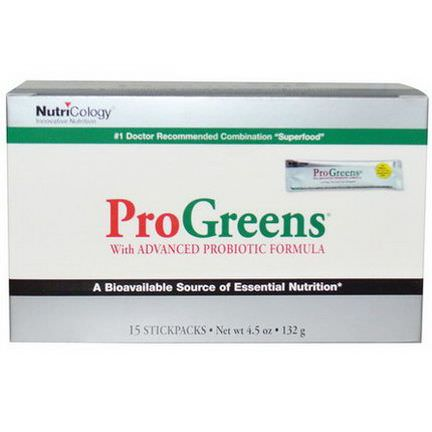 Nutricology, ProGreens, With Advanced Probiotic Formula, 15 Stickpacks 132g