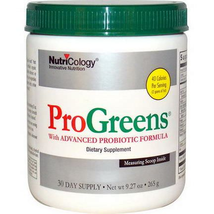 Nutricology, ProGreens, with Advanced Probiotic Formula 265g