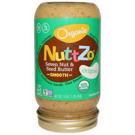 Nuttzo, Organic Seven Nut&Seed Butter, Smooth, Original 454g