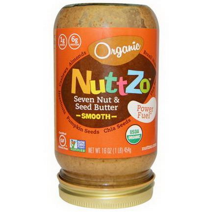 Nuttzo, Organic Seven Nut&Seed Butter, Smooth, Power Fuel 454g