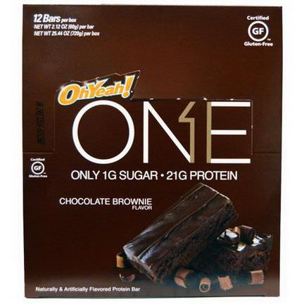 Oh Yeah, One, Chocolate Brownie Flavor, 12 Bars 60g Each