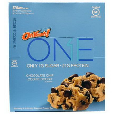 Oh Yeah, One, Chocolate Chip Cookie Dough Flavor, 12 Bars 60g Each