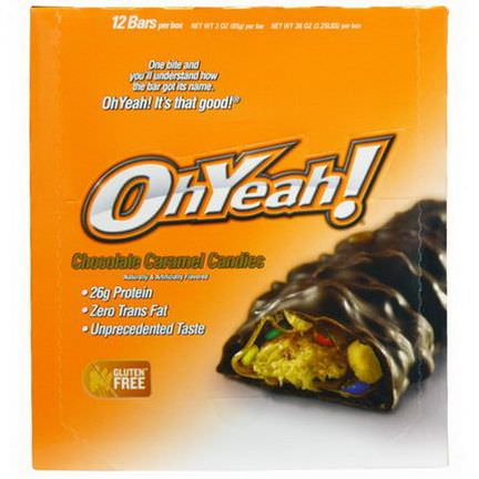 Oh Yeah, Protein Bars, Chocolate Caramel Candies, 12 Bars 85g Each
