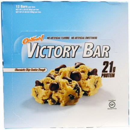 Oh Yeah, Victory Bar, Chocolate Chip Cookie Dough, 12 Bars 65g Each