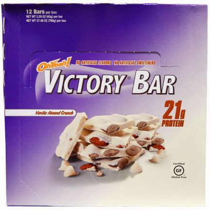 Oh Yeah, Victory Bar, Vanilla Almond Crunch, 12 Bars 65g Each