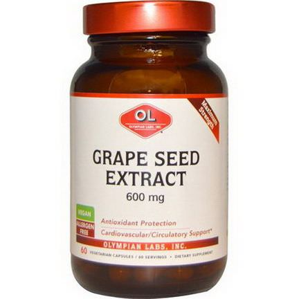 Olympian Labs Inc. Grape Seed Extract, Maximum Strength, 600mg, 60 Veggie Caps