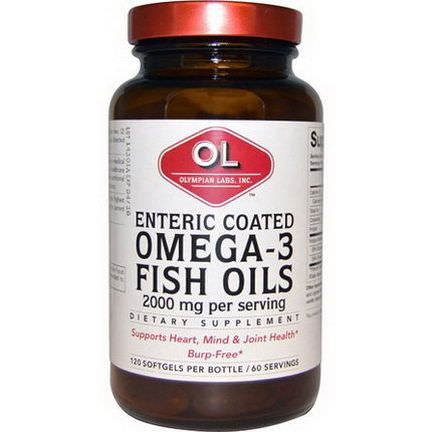 Olympian Labs Inc. Omega-3 Fish Oils, Enteric Coated, 2000mg, 120 Softgels