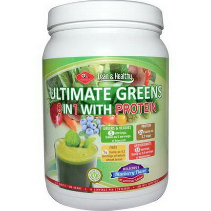 Olympian Labs Inc. Ultimate Greens 8 in 1 with Protein, Delicious Blueberry Flavor 518g