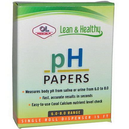 Olympian Labs Inc. pH Papers, 6.0-8.0 Range, Single Roll Dispenser 15 ft