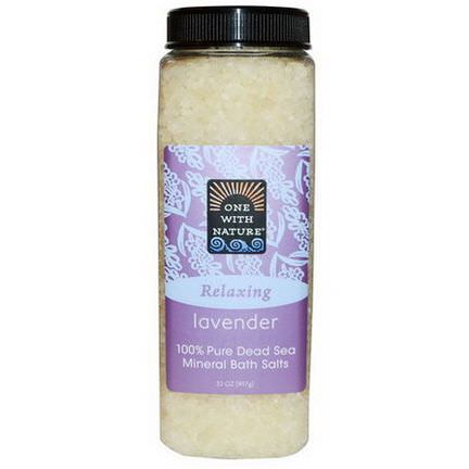 One with Nature, Dead Sea Mineral Bath Salts, Lavender 907g