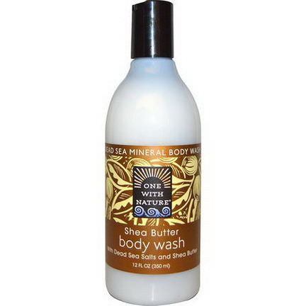 One with Nature, Dead Sea Mineral Body Wash, Shea Butter 350ml