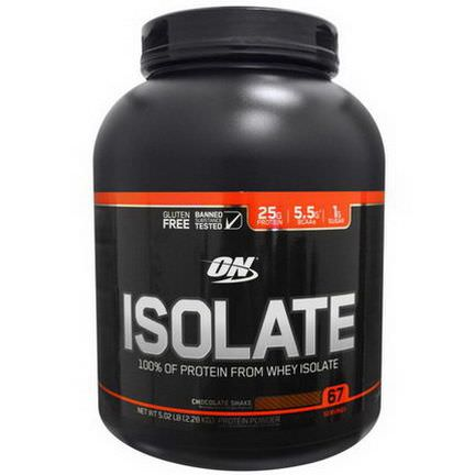 Optimum Nutrition, Isolate, Protein Powder Drink Mix, Chocolate Shake 2.28 kg