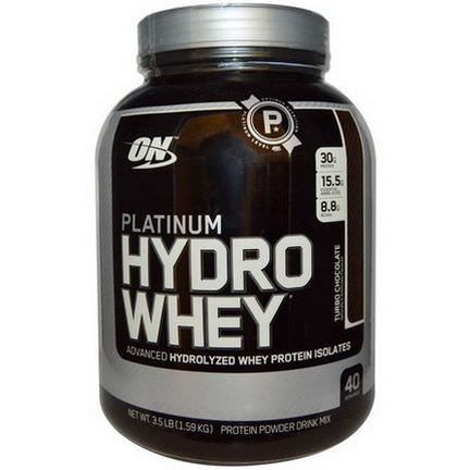 Optimum Nutrition, Platinum Hydrowhey, Turbo Chocolate 1.59 kg