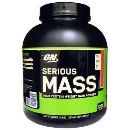 Optimum Nutrition, Serious Mass, High Protein Weight Gain Powder, Strawberry 2.72 kg