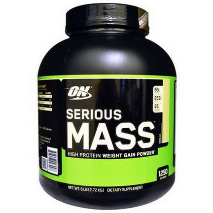 Optimum Nutrition, Serious Mass, High Protein Weight Gain Powder, Vanilla 2.72 kg