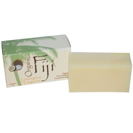 Organic Fiji, Organic Coconut Oil Soap, Lemongrass Tangerine, Bar 198g