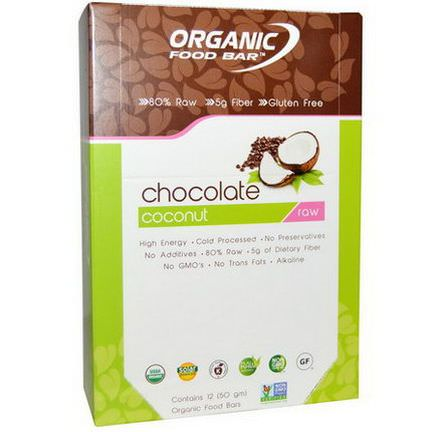 Organic Food Bar, Raw Chocolate Coconut, 12 Bars, 50g Each