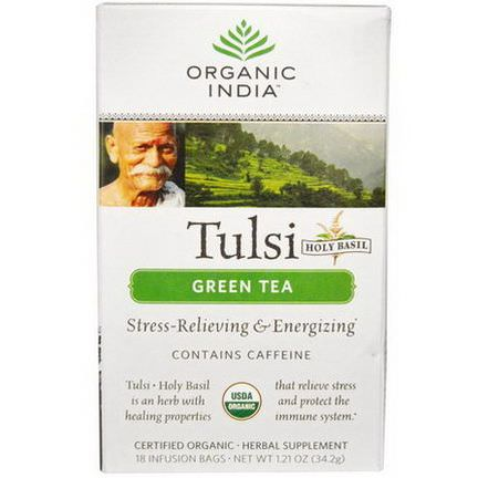 Organic India, Tulsi Holy Basil Tea, Green Tea, 18 Infusion Bags 34.2g