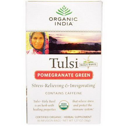 Organic India, Tulsi Holy Basil Tea, Pomegranate Green, 18 Infusion Bags 36g
