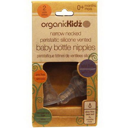 Organic Kidz, Narrow Necked Peristaltic Silicone Vented Baby Bottle Nipples, 0 Months, 2 Units